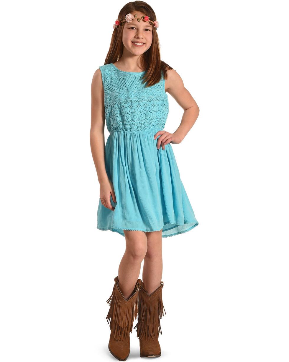 Silver Girls' Sea Sleeveless Lace Dress, Light Green, hi-res
