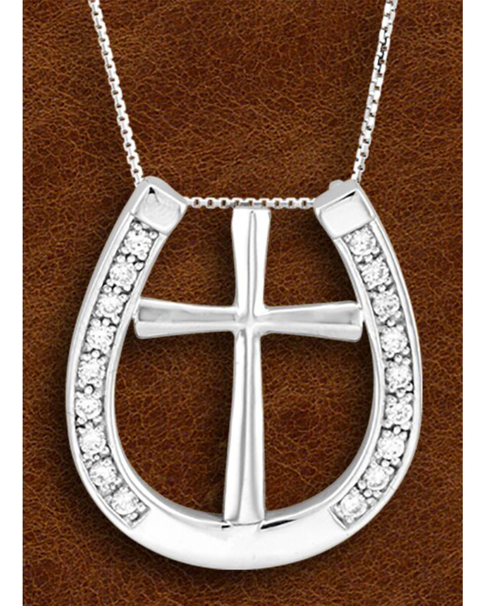 Kelly Herd Sterling Silver Rhinestone Horseshoe & Cross Charm Necklace, Silver, hi-res