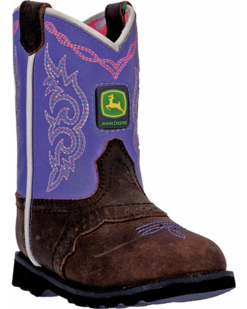 John Deere Toddler Girl's Pull-On Western Boots, Brown, hi-res