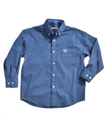 Panhandle Boys' Blue Brushed Print Shirt , , hi-res