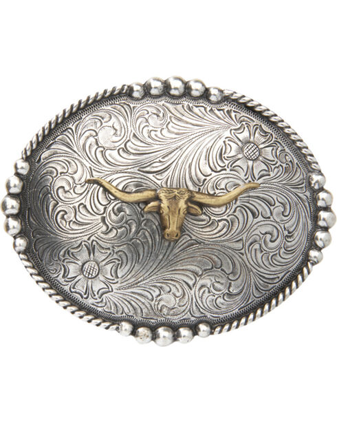 Cody James® Men's Long Horn Belt Buckle, Multi, hi-res