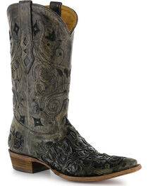 """Corral Men's 13"""" Caiman Inlay Exotic Western Boots - Snip Tpe, , hi-res"""