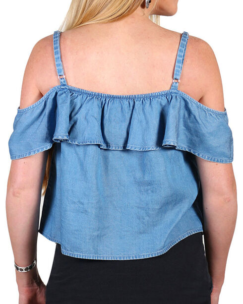 Shyanne® Women's Denim Off The Shoulder Top , Blue, hi-res