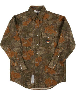 Rasco Men's Flame Resistant Camo Western Shirt, Camouflage, hi-res
