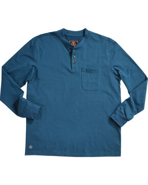 American Worker Men's Blue Mason Pocket Henley Shirt , Blue, hi-res