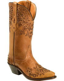 Old West Women's Two-Tone Brown Overlay Western Boots - Snip Toe  , , hi-res
