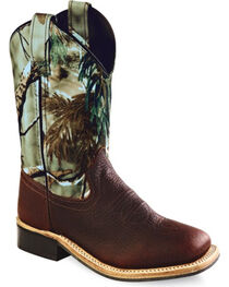 Old West Boys' Camo Western Boots - Square Toe, , hi-res