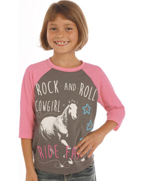 Rock & Roll Cowgirl Girls' Charcoal Grey Ride Fast Baseball Tee, Charcoal Grey, hi-res