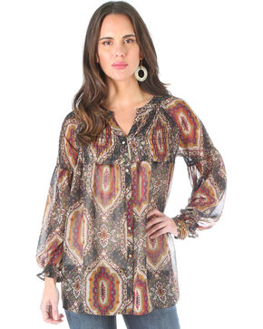 Wrangler Women's Allover Print Long Sleeve Blouse , Multi, hi-res