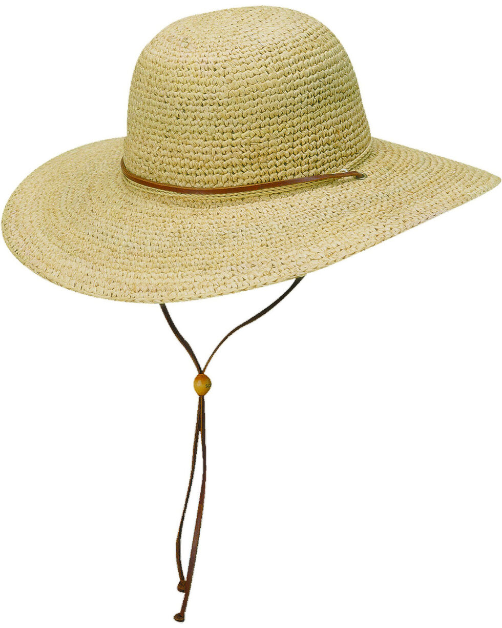Scala Women's Natural Organic Raffia with Leather Chin Cord Sun Hat, Natural, hi-res