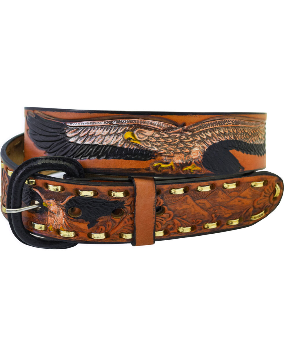 Western Express Men's Brown Leather Eagle Belt - Big , Brown, hi-res