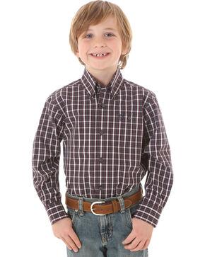 Wrangler George Strait Boys' Classic Long Sleeve Western Shirt, Wine, hi-res