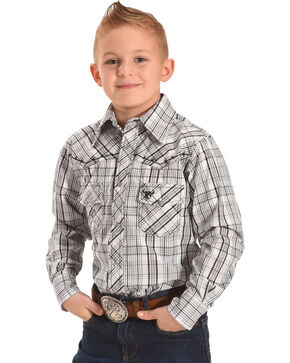 Cowboy Hardware Boys' Plaid Barbed Wire Long Sleeve Snap Shirt, Grey, hi-res