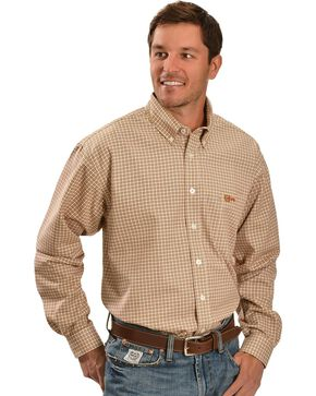 Cinch Men's Flame Resistant Plaid Long Sleeve Work Shirt, Brown, hi-res