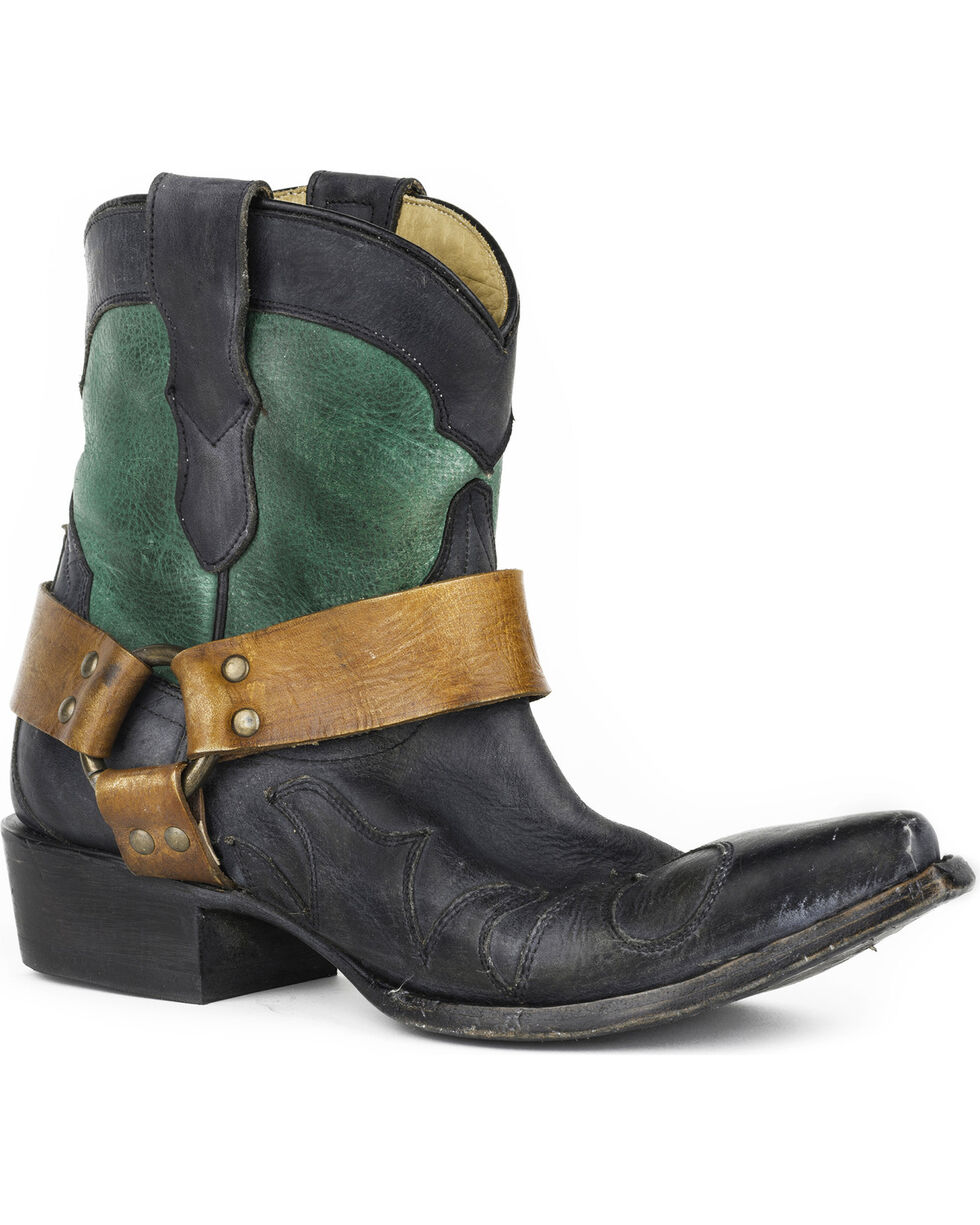 "Stetson Women's Jade 7"" Harness Western Boots - Snip Toe, Green, hi-res"