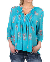 Shyanne Women's Sheer Bell Sleeve Peasant Blouse, , hi-res