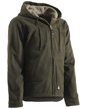 Berne Washed Hooded Work Coat, Olive Green, hi-res