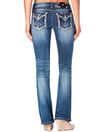 Miss Me Women's Blue Studded Flap Jeans - Boot Cut , , hi-res