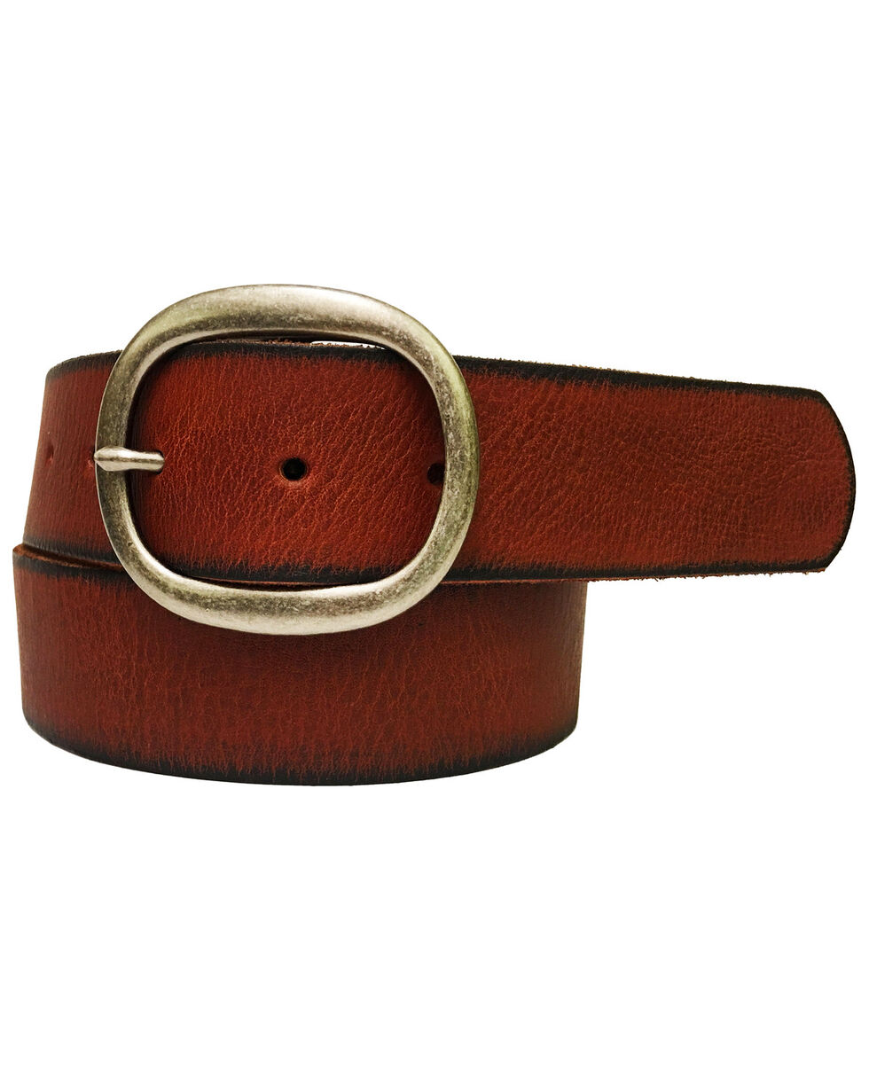 Cowgirls Rock Women's Brown Bridle Leather Bar Buckle Belt, Brown, hi-res