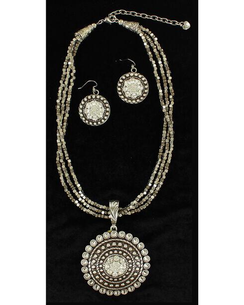 Blazin Roxx Multi-strand Round Pendant Necklace & Earrings Set, Silver, hi-res