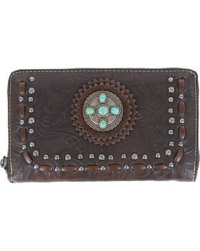 Trinity Ranch Women's TaupeStone Concho Tooling Wallet , Taupe, hi-res
