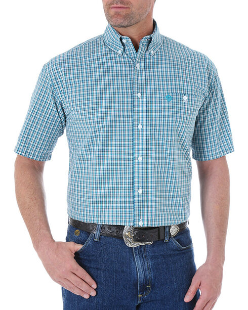 Wrangler George Strait Men's Mini Checks Short Sleeve Shirt, Turquoise, hi-res