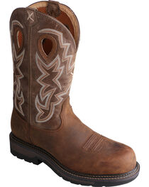 Twisted X Oiled Distressed Waterproof Lite Cowboy Work Boots - Soft Round Toe , , hi-res