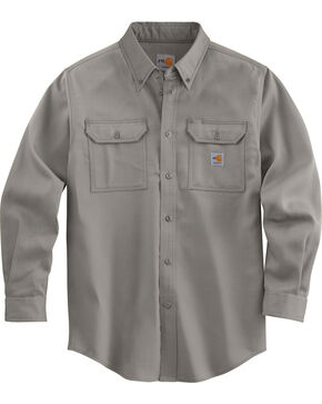 Carhartt Men's Long Sleeve Flame Resistant Dry Twill Work Shirt, Grey, hi-res