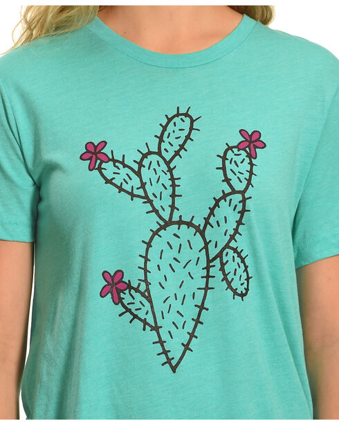 Cowgirl Justice Women's Cactus Crew Neck Tee, Green, hi-res