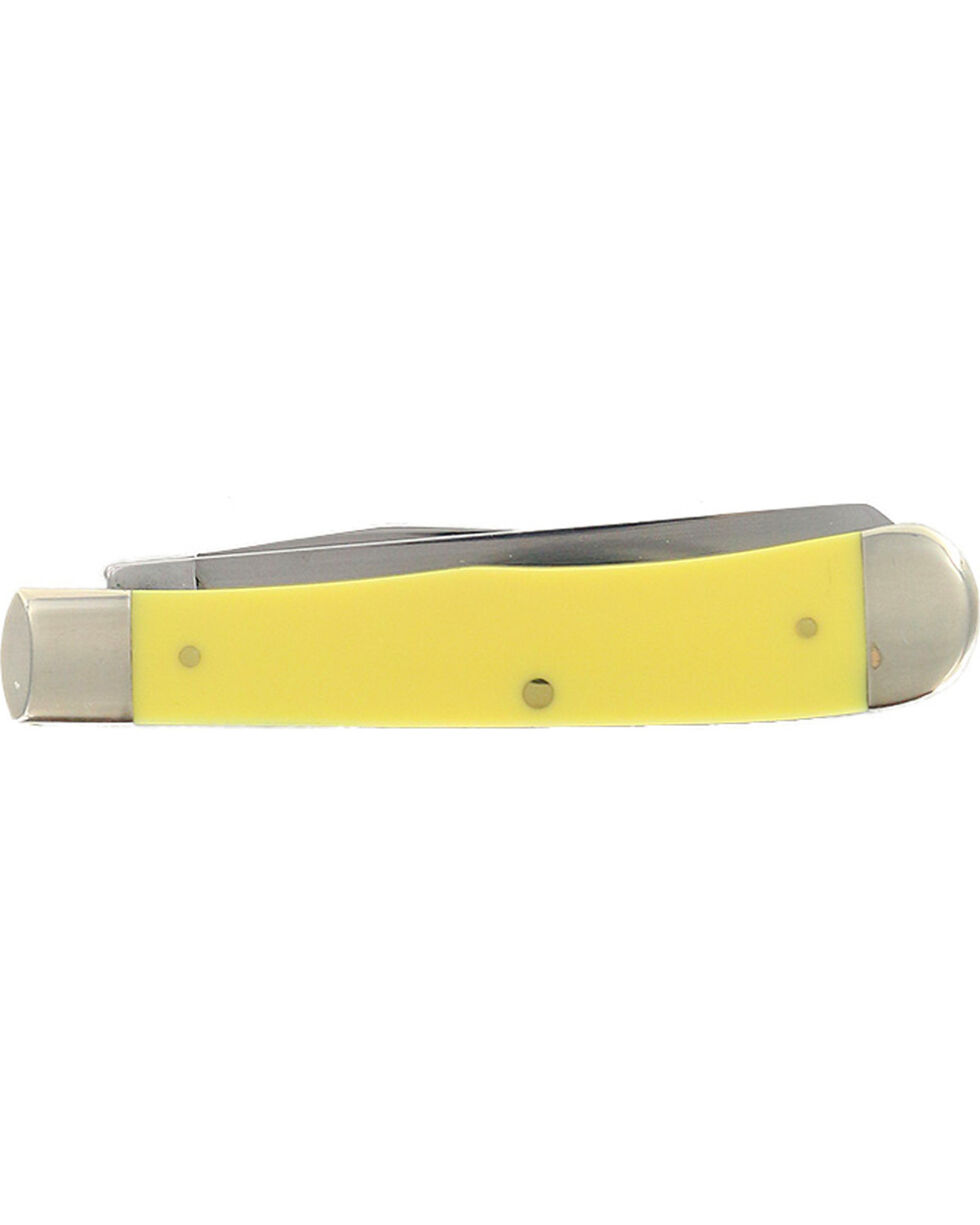 W.R. Case & Sons Yellow Delrin Trapper Pocket Knife, Yellow, hi-res