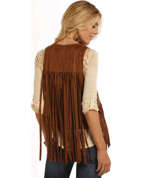 Rock and Roll Cowgirl Brown Miscrosuede Fringe Vest , Brown, hi-res