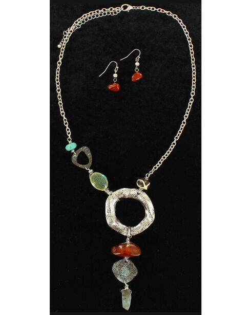 Blazin Roxx Hammered Metal Statement Necklace & Earrings Set, Multi, hi-res