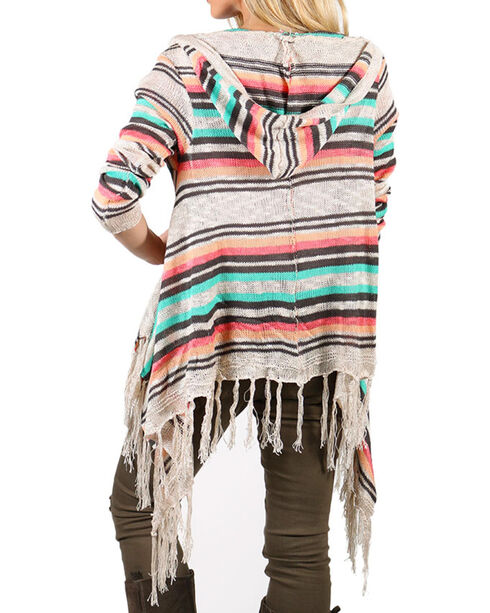 Say What Women's Fringe Tasseled Open Front Sweater, Coral, hi-res