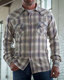 Ryan Michael Men's Oyster Mohave Flannel Plaid Shirt , , hi-res