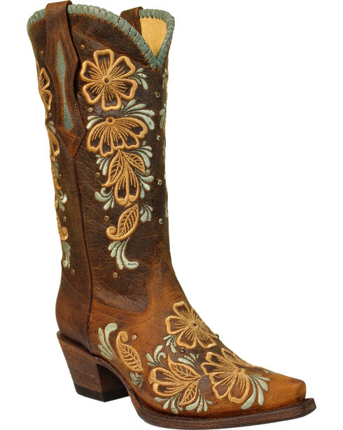 Corral Women's Daisy Embroidered Snip Toe Western Boots, Brown, hi-res