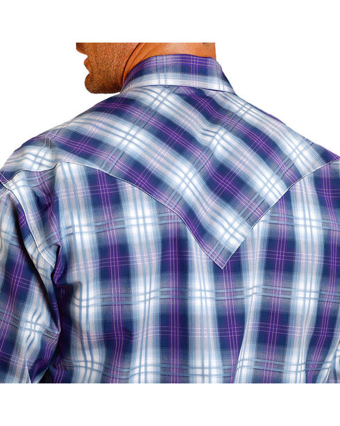 Stetson Men's Large Plaid Printed Long Sleeve Shirt, Purple, hi-res