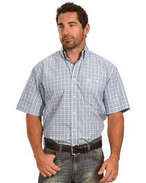 Wrangler George Strait Men's White/Blue Plaid Short Sleeve Shirt - Big & Tall, , hi-res
