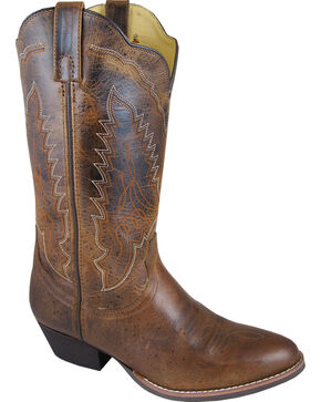 Smoky Mountain Amelia Cowgirl Boots - Round Toe, Brown, hi-res