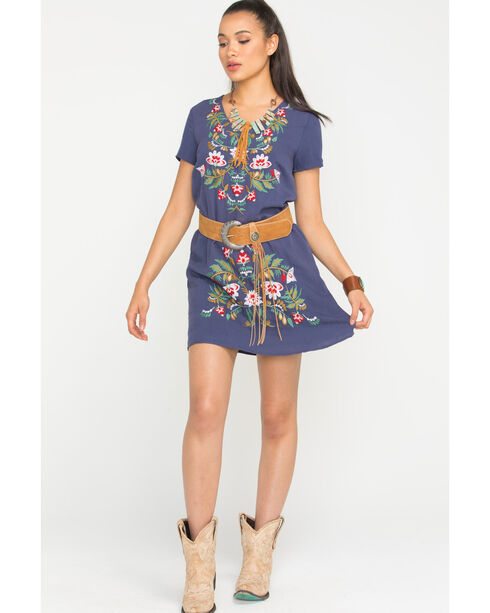 Polagram Women's Navy Embroidered Short Sleeve Dress , Navy, hi-res