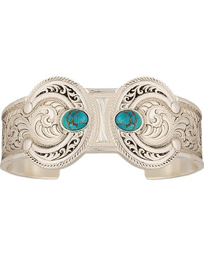 Montana Silversmiths Turquoise Squash Blossom Bracelet, Silver, hi-res
