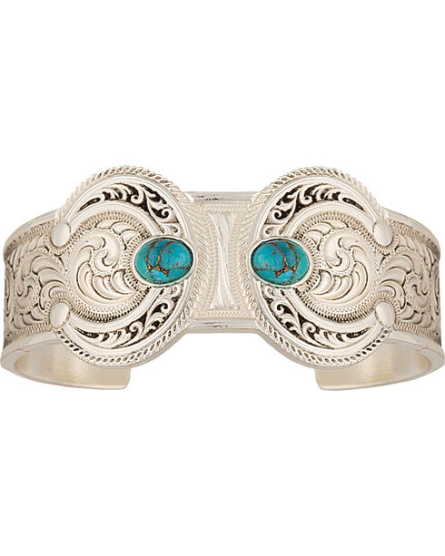 Montana Silversmiths Turquoise Squash Blossom Bracelet, Silver, hi-res