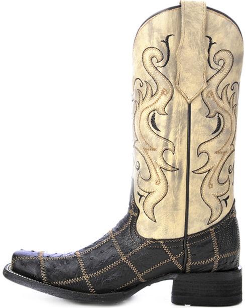 Circle G Women's Ostrich Patchwork Exotic Boots, Black, hi-res