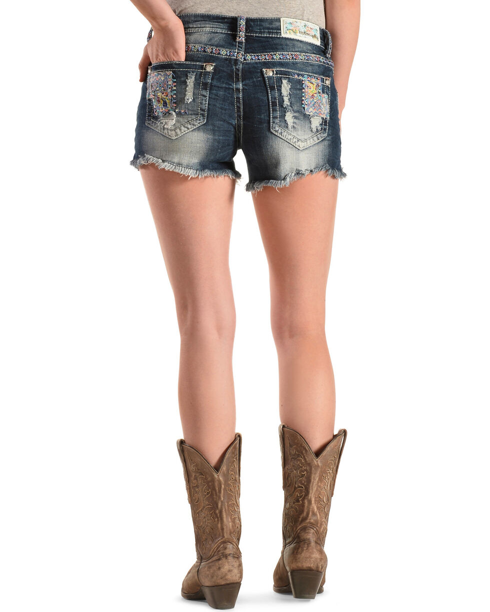 Grace in L.A. Women's Patch Cut-Off Shorts, Denim, hi-res