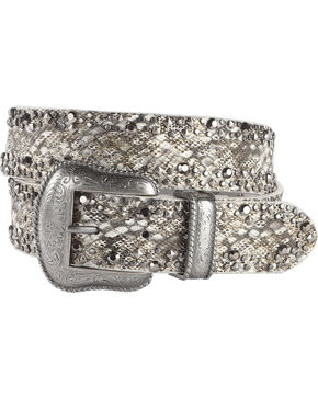 Shyanne Women's Studded Gator Print Belt, Black, hi-res