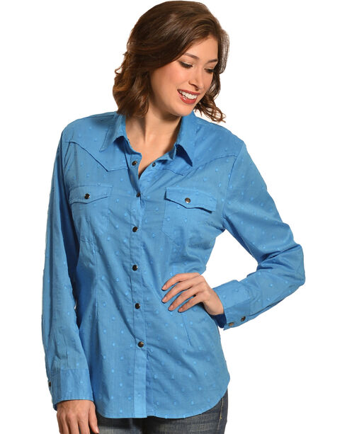New Direction Sport Women's Blue Swiss Dot Long Sleeve Western Shirt , Blue, hi-res