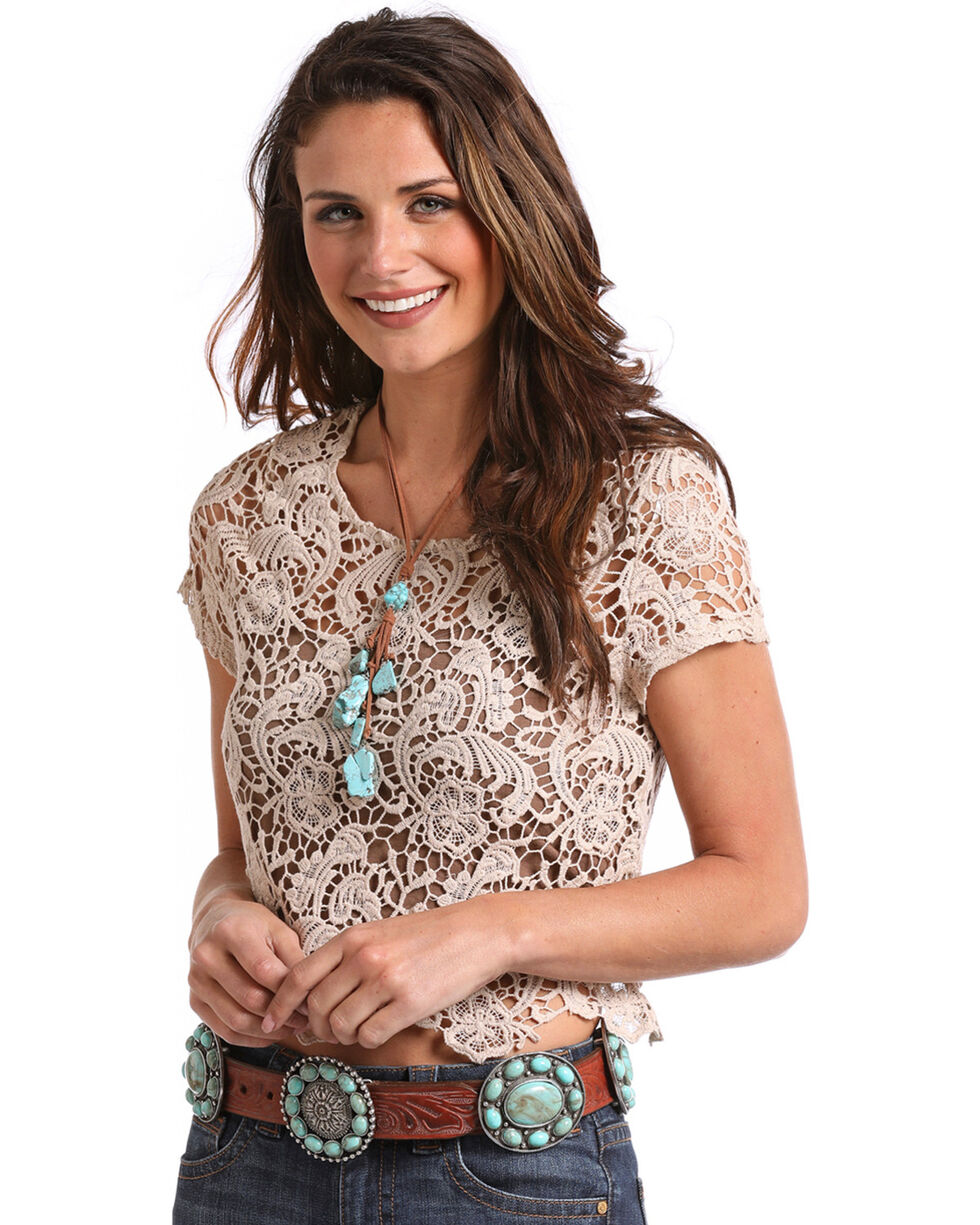 Panhandle Women's Crochet Lace Top, Tan, hi-res