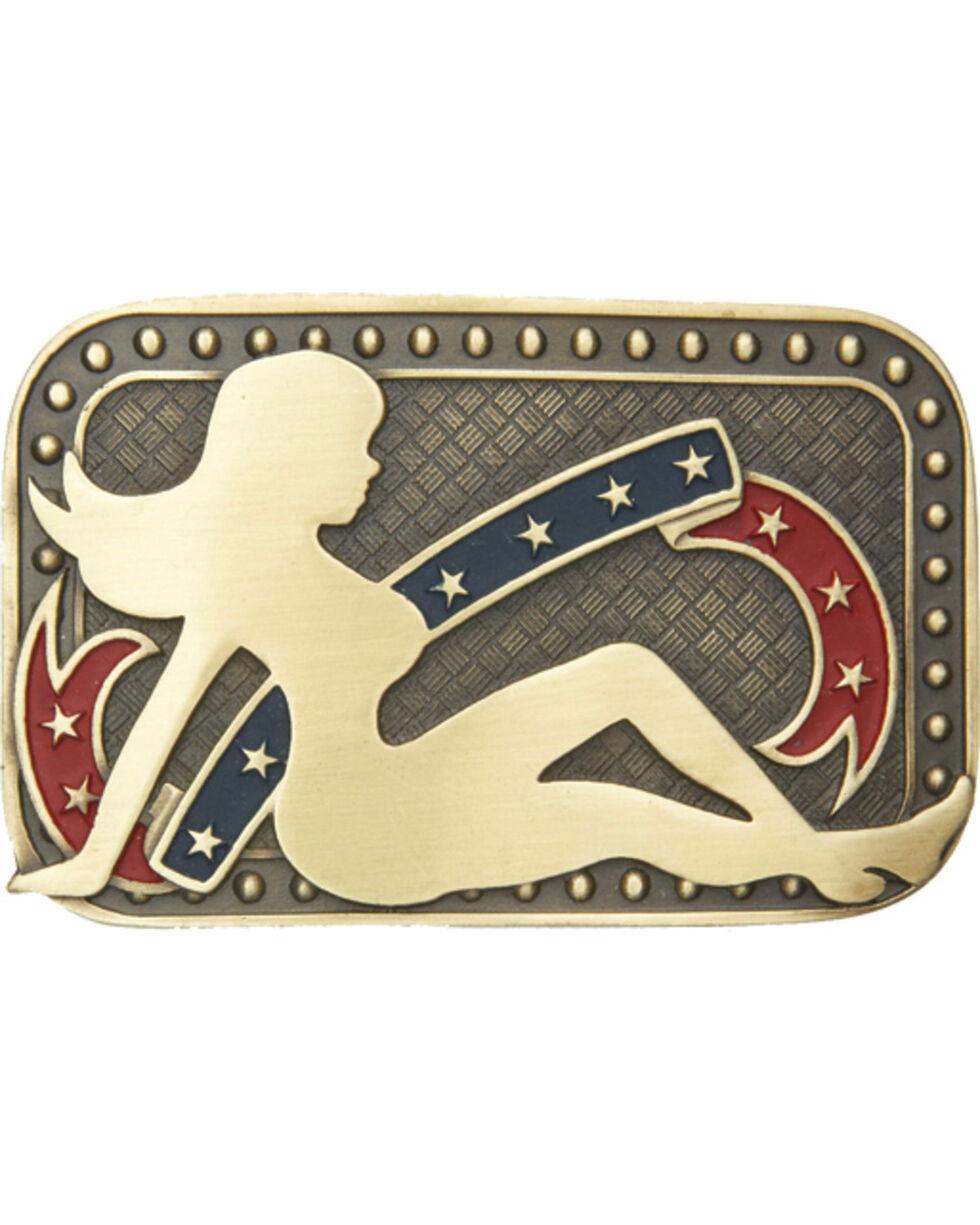 AndWest Men's Patriotic Mud Flap Girl Belt Buckle, Multi, hi-res