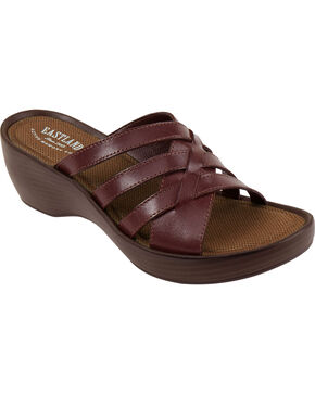 Eastland Women's Cinnamon Poppy Wedge Sandals , Chili, hi-res