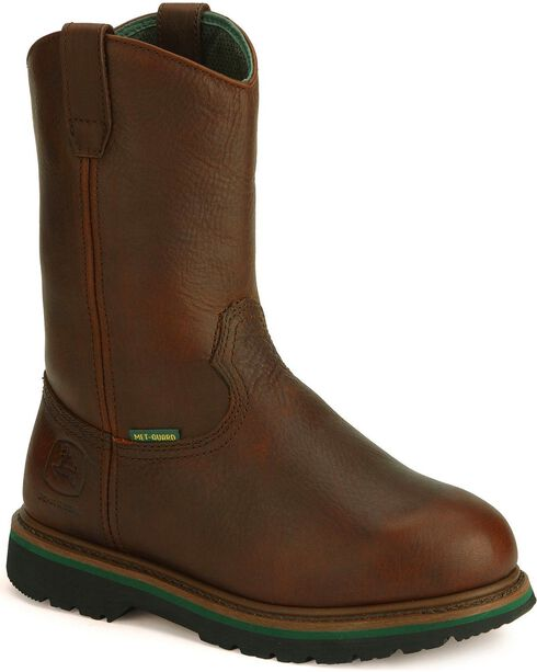 John Deere® Men's Steel Toe Met Guard Boots, Dark Brown, hi-res
