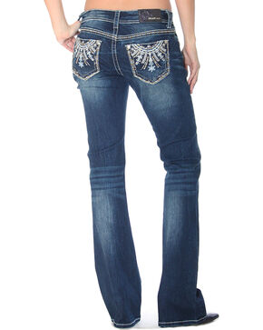Grace in LA Women's Indigo Floral Bling Jeans - Boot Cut , Indigo, hi-res